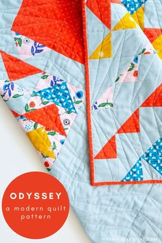 """Odyssey quilt pattern from Rachel of wren-collective.com. Odyssey is a half square triangle quilt that is made up of nine """"mega blocks"""" for a simplified construction. For confident beginner sewists and above. Easy to follow, full color instructions included to make five different sizes. #modernquilt #modernquiltpattern #quiltpattern #halfsquaretrianglequilt #halfsquaretriangles #babyquilt Beginner Quilt Patterns, Baby Quilt Patterns, Modern Quilt Patterns, Quilting For Beginners, Half Square Triangle Quilts Pattern, Traditional Quilts, Quilting Designs, Quilting Ideas, Mega Blocks"""