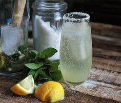 Lemonade Mojitos: limoncello, mint, rum and prosecco-rimmed with vanilla salt