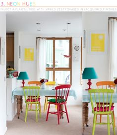 This looks like a real home! Love the bright chairs with everyday furnishings.