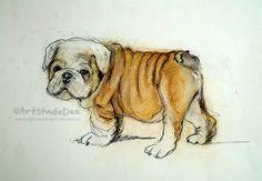 English Bulldog Art Print  A4 or 8X10 inch Paper by ArtStudioDee