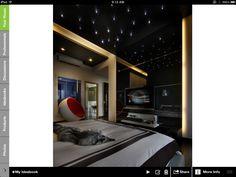 Twinkle lights on ceiling