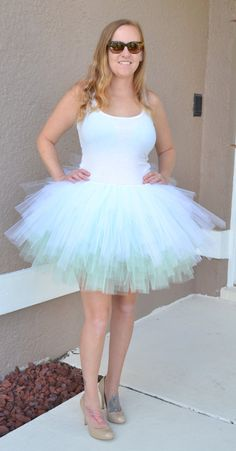 White Tulle Skirt - Adult Knee Length Tutu with Ribbon Waist and ...