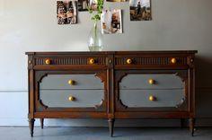 two tone furniture painting Diy Furniture Projects, Home Decor Furniture, Custom Furniture, Furniture Making, Furniture Makeover, Painted Furniture, Furniture Refinishing, Distressed Furniture, Painted Sideboard