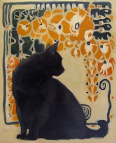 Cat Nouveau II black cat art nouveau painting by Diane Hoeptner