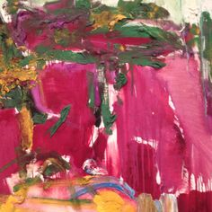 Joan Mitchell. I like this picture because I love the color pink. This picture looks like a pink room to me, I like how she added the green on the roof, it makes the pink walls pop out more.