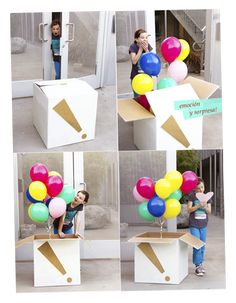 What a great birthday surprise- balloons in a box Diy Birthday, Birthday Parties, Birthday Gifts, Balloon Birthday, Love Gifts, Diy Gifts, Cadeau Surprise, Surprise Gifts, Little Presents