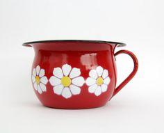 Red Floral Vintage Enamel Pot by EMO CELJE Yugoslavia