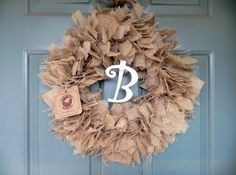 Burlap Wreath with white monogram (other colors and sizes available) Rustic Wedding Decoration