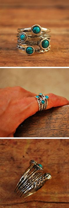"You'll love this gorgeous turquoise stacked ring. It's Bezel set turquoise cabochons are set off by four unique sterling bands. The bands are fused together in the back so stones are always front and center. Also tapers in the back for a comfortable fit. Approximately 3/4"" top to bottom and 1/4"" in the back. & Handcrafted."