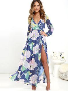 39917ab7033 V-Neck Floral Imprint Long Sleeve Women s Maxi Dress