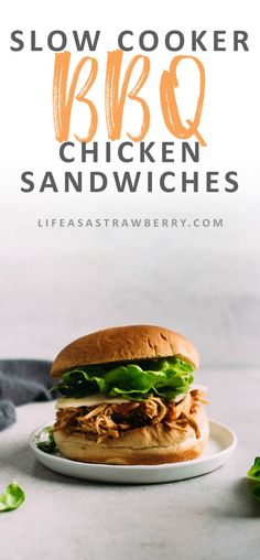 Slow Cooker BBQ Chicken Sandwiches | This quick and easy slow cooker chicken recipe is perfect for busy weeknights! Toss some chicken in the crock pot in the morning with your favorite barbecue sauce and throw these chicken sandwiches together in no time
