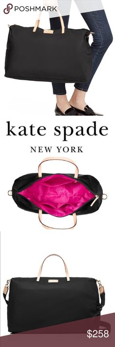 """Kate Spade New York Kennedy Park Filipa Weekender Run away with this bag! Features nylon with smooth leather trim. capital kate jacquard lining. 14-karat light gold plated hardware. 14""""h x 19.5""""w x 8.6""""d. drop length: 4.7"""" handheld. total strap length: 41"""". travel bag with zip top closure and an adjustable, removable strap. dual interior slide pockets and interior zipper pocket. printed kate spade new york license plate. imported. New with tags in manufactures packaging. Kate Spade Bags…"""