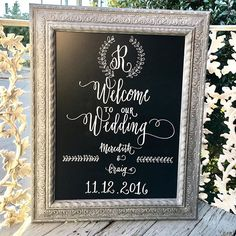 Welcome your guests with #handlettering for a personal touch! #weddingideas #calligraphy #chalkboard #chalkboardsigns