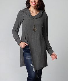 Look at this Charcoal Asymmetrical Button Convertible Tunic - Plus on #zulily today!