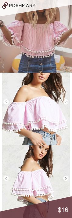 Pink Pinstripe Off Shoulder Ruffle Pom Pom Top NWOT. Never worn. No flaws. Price is firm. No trades. Forever 21 Tops Crop Tops