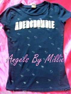 #backtoschool #Abercrombie Juniors M Girls 16 Navy Blue Embroidered Moose Graphic T Shirt Top | eBay