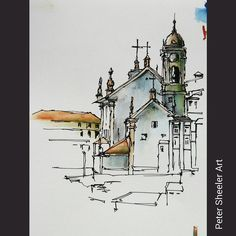 Have a few unfinished location sketches in my Porto Portugal sketch books. Wish I had completed this one. I was standing in the courtyard of the Porto Cathedral, painting a church on the other side of the old town area. Not sure what landmark this was. Ink In Water, Urban Sketching, Sketches, Pen And Watercolor, Sketch Book, Watercolor Architecture, Sketches Tutorial, Landscape Art, Travel Sketches