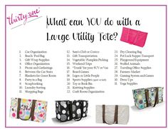 What can you do with a Large Utility Tote?