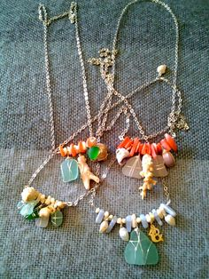Rhodium  chain & Sea glass necklaces by mermaid2947 on Etsy, $32.00
