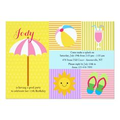 411 best flip flops birthday party invitations images on pinterest