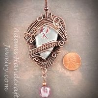 Sonoran Dendritic Rhyolite Gemstone Pendant Wire-Wrapped in Copper Patina with One Purple Silver Foil Bead & One Czech Crystal - Thumbnail 1