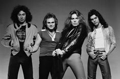 Alex Van Halen, Michael Anthony, David Lee Roth, Eddie Van Halen in May 1978.