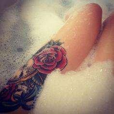rose thigh #tattoo.