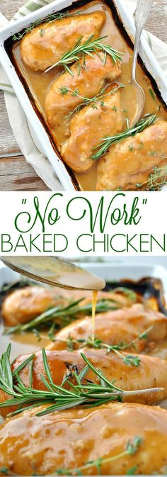 No Work Baked Chicken ~ A healthy and easy Baked Chicken recipe that is moist, tender, and seasoned with fresh herbs and a delicious maple-Dijon pan sauce!