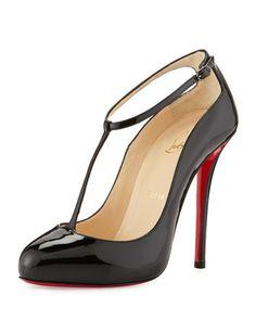 Yes, I did... Ditassima+Patent+T-Strap+Pump,+Black+by+Christian+Louboutin+at+Neiman+Marcus.