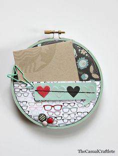 Scrapbook Paper Embroidery Hoop Gift Card Holder