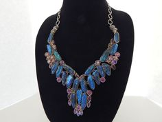 "STERLING SILVER ARTISAN PURPLE GEMSTONE TURQUOISE MOTHER OF PEARL 24"" NECKLACE"