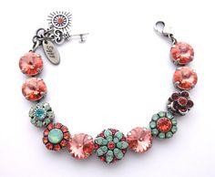 Swarovski crystal 12mm bracelet in peach and by SiggyJewelry