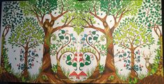 Double side with trees, an owl and a deer From Johanna Basfords 'enchated forest'