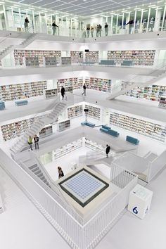 Stadtbibliothek am Mailänder Platz, Stuttgart, 2011 by Yi Architects #architecture #white #books #library #design #stairs