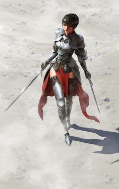 f Fighter Plate Armor Cloak Dual Longsword Desert female by hyunjoong lg Fantasy Women, Fantasy Girl, Dark Fantasy, Armadura Medieval, Female Armor, Female Knight, Fantasy Armor, Medieval Fantasy, Fantasy Character Design