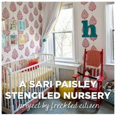 A DIY stenciled nursery featuring our Sari Pasiley pattern in primary colors. http://www.cuttingedgestencils.com/sari-paisley-allover-stencil.html  #cuttingedgestencils #stencils #stenciling #wallstencils #diy #nursery #decor