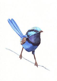 Bleu impression de peinture W066 aquarelle par LouiseDeMasi