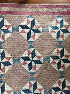 Early Antique Blue & Plum ALL Calico Quilt Hand Sewn Textile AAFA Homespun Back | eBay