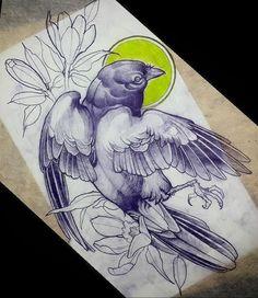 Эскиз тату с птицей и цветами