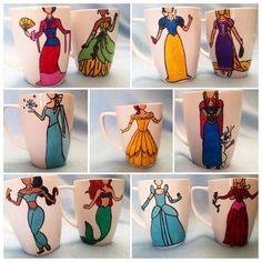 Adorable Disney Princess Character Figure Mugs of all the Disney Princesses! I need them all!!!!