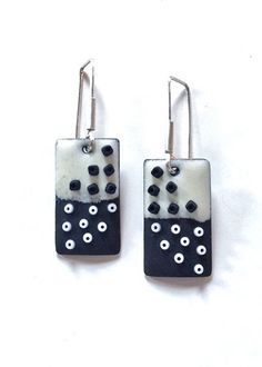 Long Enameled Tab Earrings in with Black & White with Scattered Beads. $110.00, via Etsy.