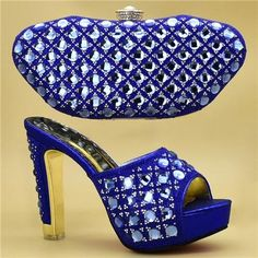 Shoes and Bag Set African Sets 2019 High Quality Party Shoes and Matching Bag Set High Heeled Women Shoes for Moms 50th Birthday, Birthday Ideas, Free Online Shopping, Party Shoes, Shapewear, Blue Gold, Wedding Shoes, Heeled Mules, Peeps