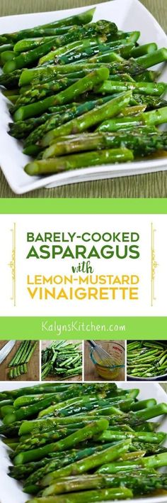 There are so many good ways to cook asparagus, but this Barely-Cooked Asparagus with Lemon-Mustard Vinaigrette is not only easy, quick, and delicious, but it's also low-carb, Keto, low-glycemic, gluten-free, dairy-free, vegan, Paleo, Whole 30, and South Beach Diet friendly, so you can make it for anyone! [found on http://KalynsKitchen.com]