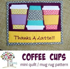 The Coffee Cups Mini Quilt PDF Pattern Template is perfectly sized to create a mug rug or mini quilt. Measures 7 1/2 x 9 3/4 when finished. The design can easily transform into an applique or quilt block. Mug rugs are easy to make and perfect for smaller leftover pieces of fabric. This pattern is perfectly sized to set your mug on with a snack or even display on your wall. This easy quilt block can be added to others to create a festive quilt that can be enjoyed year after year! Add your ...