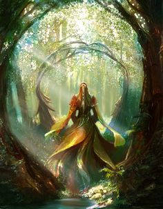 Lady in the forest by Edli - the shape of the trees in the elven world. Color's wrong though, and that must be a Lilna elfla