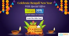 Before the Bengali New Year begins, you should take some time to set your career goals for the New Year. Celebrate this Bengali New Year with our special offer. Get up to 20% discount on all online IT courses. Grab the Offer now! #Career #ITCourses #OnlineITCourses #BengaliNewYearOffer #KarmickInstitute Career Opportunities, Career Goals, Bengali New Year, Seo Digital Marketing, Web Design, Design Web, Website Designs, Site Design