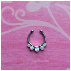 Opal fake septum faux septum hanger non piercing by lotusfairy
