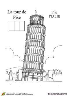 Coloriage d'un monument célèbre, la tour de Pise - Hugolescargot.com
