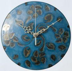 Image of Round Blue Flower Clock