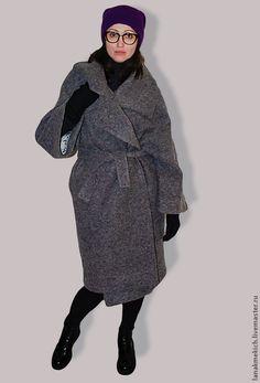 Пальто-кокон Street-fashion. Look№2 - серый,однотонный,пальто халат,объемное пальто